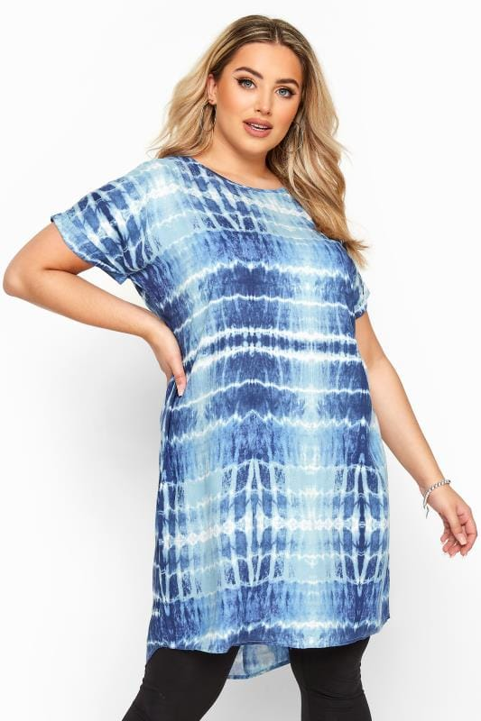 Plus Size Tunics Blue Tie Dye Dipped Hem Tunic