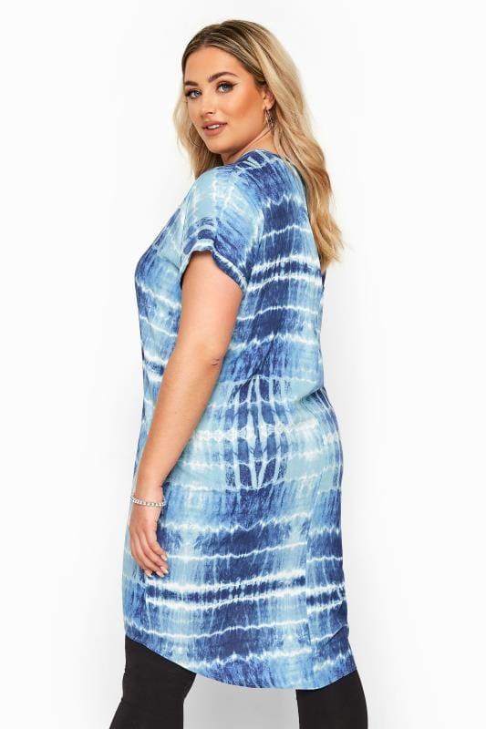 Blue Tie Dye Dipped Hem Tunic