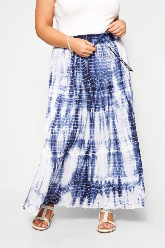 Plus-Größen Maxi Skirts Blue Tie Dye Maxi Skirt