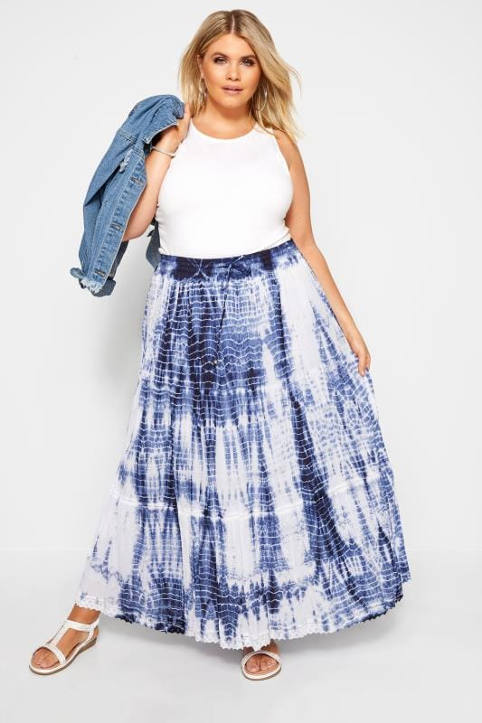 Plus Size Maxi Skirts Blue Tie Dye Maxi Skirt