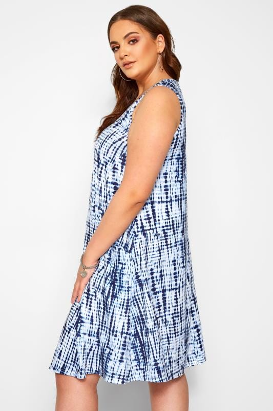 Blue Tie Dye Sleeveless Drape Pocket Dress