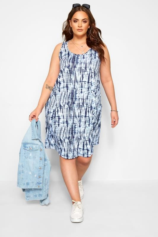 Plus Size Jersey Dresses Blue Tie Dye Sleeveless Drape Pocket Dress