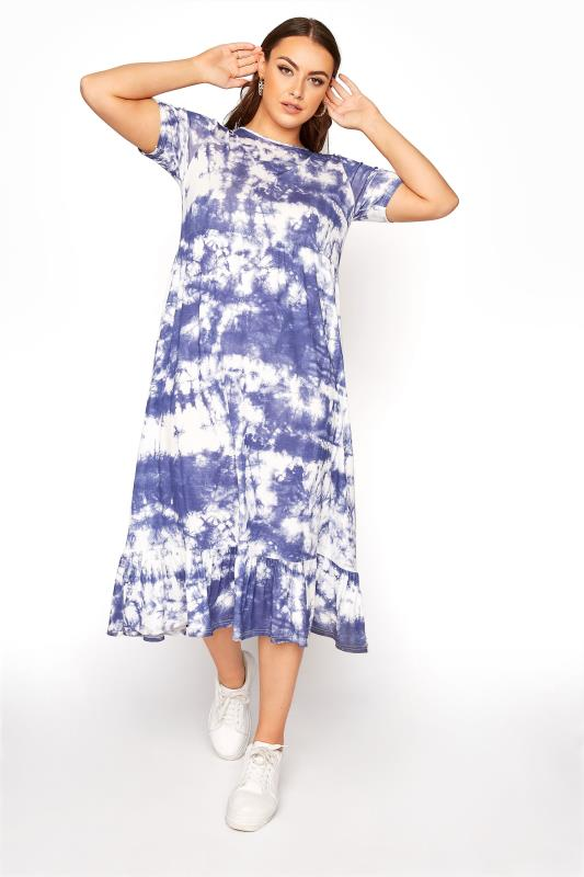 Plus Size  Blue Tie Dye Tier Midi Dress