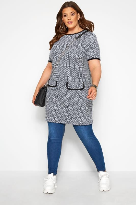 Blue Tile Print Mock Pocket Tunic