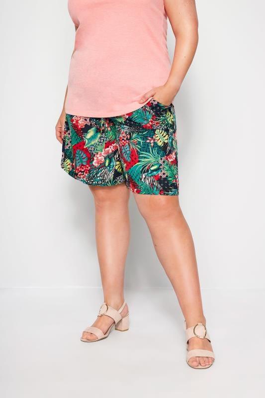 Plus Size Fashion Shorts Blue Tropical Print Pull On Shorts