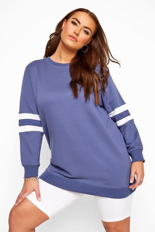 Blue Varsity Sleeve Longline Sweatshirt