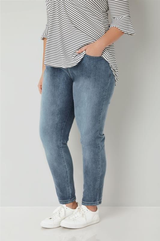 Große Größen Boyfriend Jeans Blaue Boyfriend Jeans mit Waschung BROOKLYN
