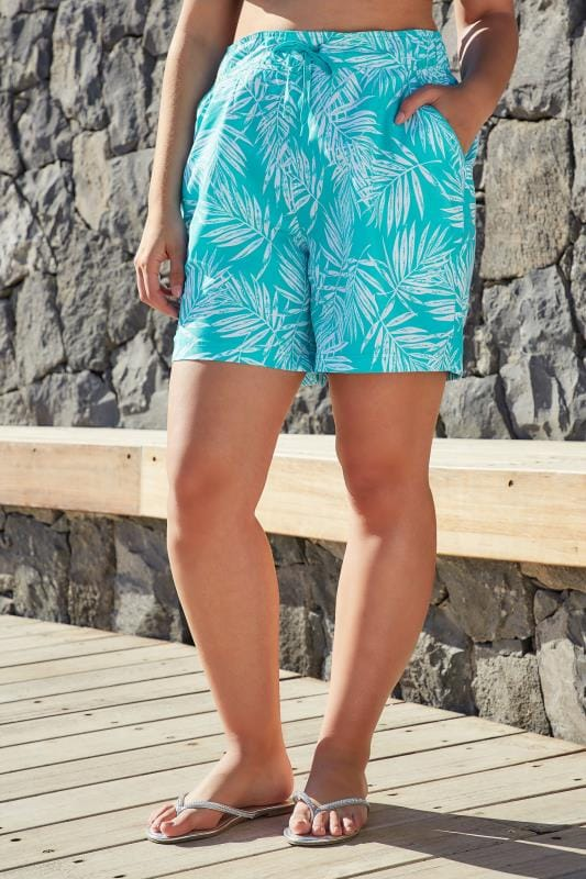 Plus Size Swim Shorts Blue & White Leaf Print Swim Shorts