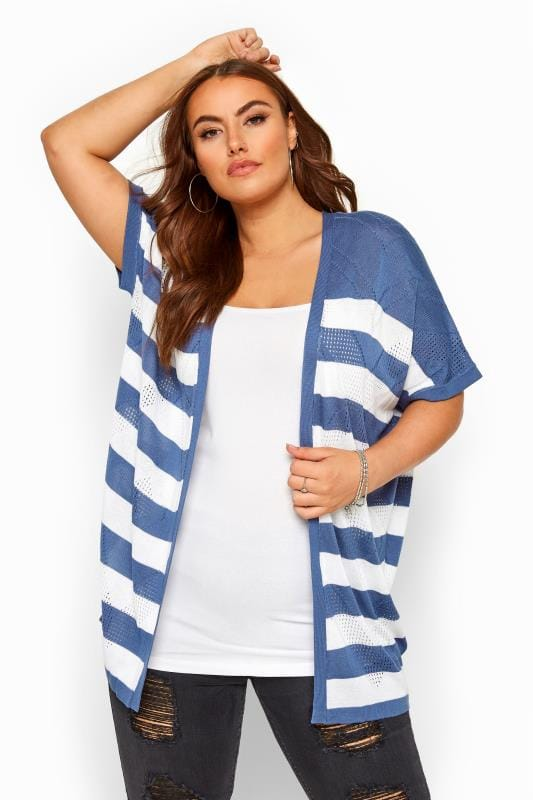 Plus Size Cardigans Blue & White Stripe Pointelle Cocoon Cardigan