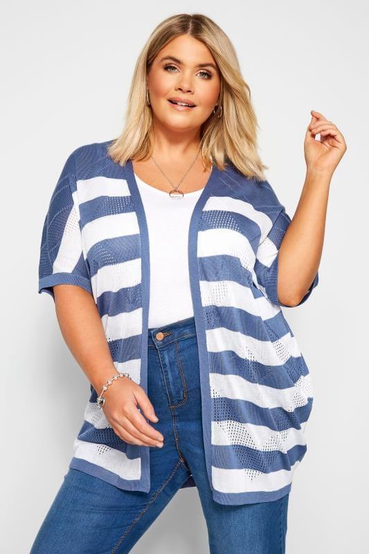 Cardigans dla puszystych Blue & White Stripe Pointelle Cocoon Cardigan