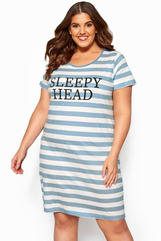 Plus Size Nightdresses & Chemises Blue & White Striped 'Sleepy Head' Nightdress
