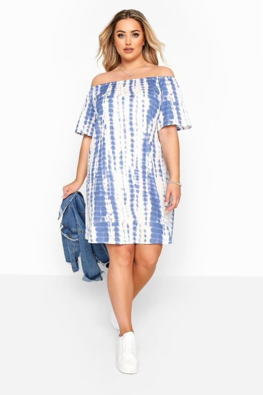Plus Size Tunics Blue & White Tie Dye Crinkle Bardot Dress