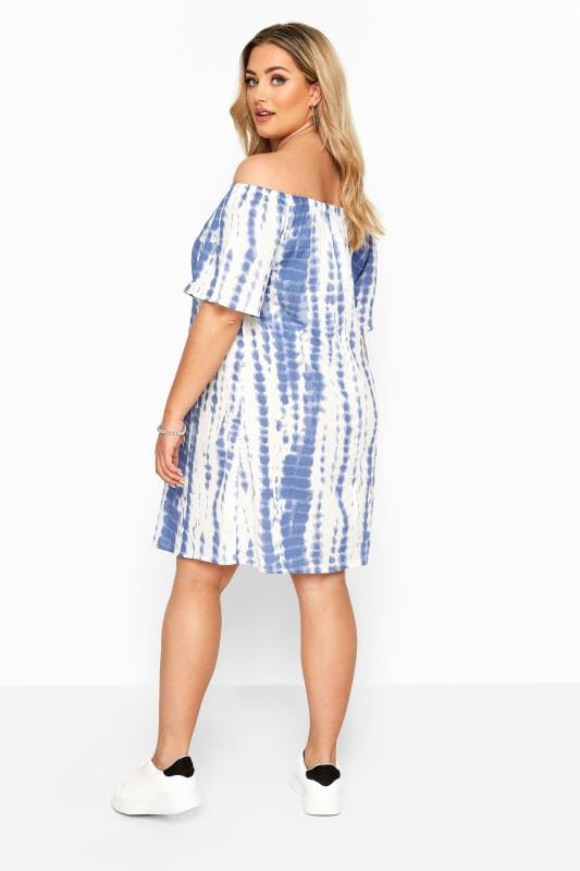 Blue & White Tie Dye Crinkle Bardot Dress