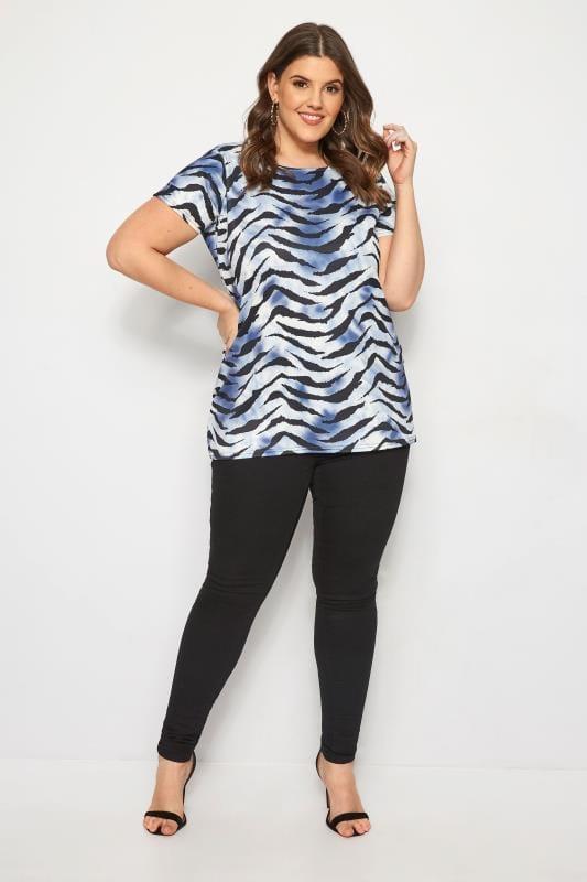 Blue Zebra Print T-Shirt