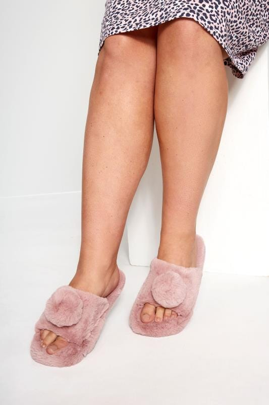 Wide Fit Slippers Blush Pink Faux Fur Pom Pom Slippers