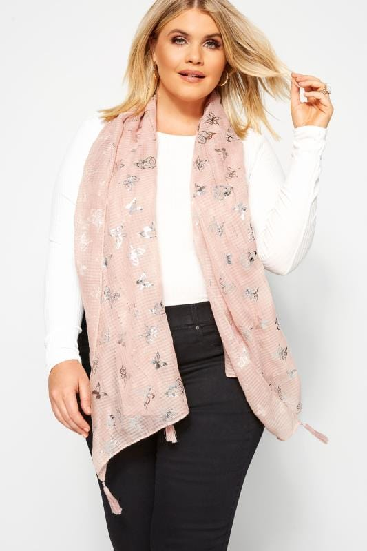 Plus Size Scarves Blush Pink Foil Butterfly Scarf