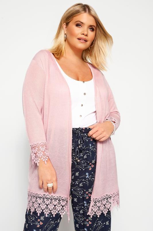 Plus Size Cardigans Blush Pink Lace Trim Cardigan