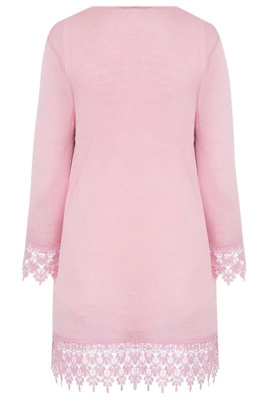 Blush Pink Lace Trim Cardigan
