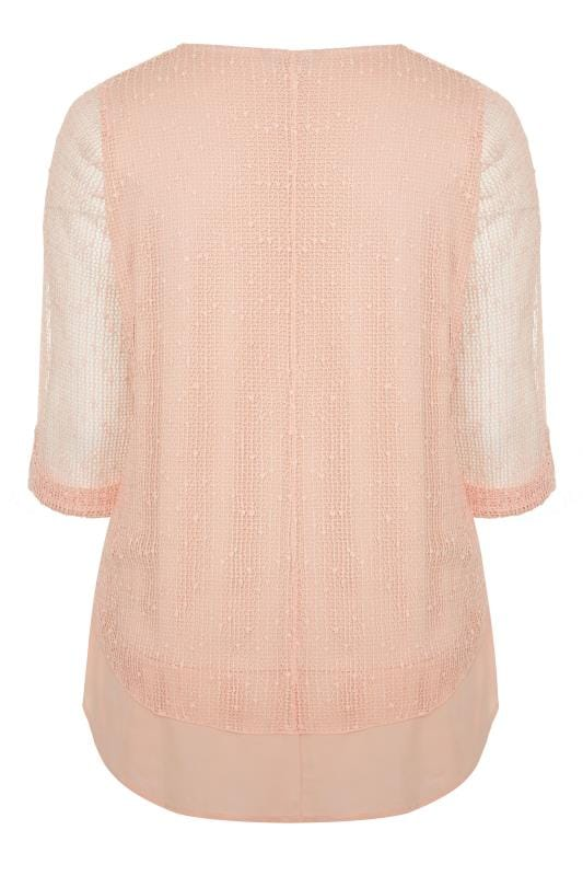 Blush Pink Layered Crochet Top