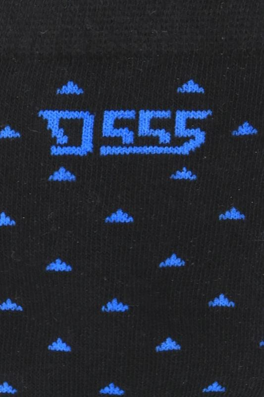 D555 3 PACK Black Patterned Socks