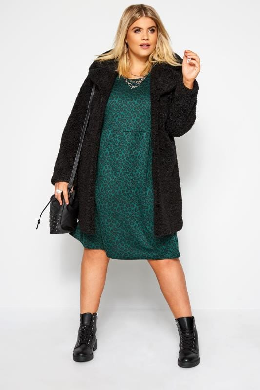 Bottle Green Animal Print Smock Dress
