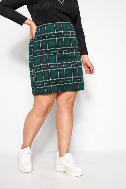 Plus Size Pencil Skirts Bottle Green Check Mini Skirt