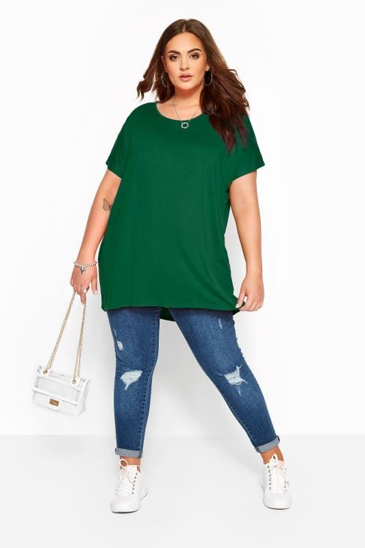Bottle Green Dipped Hem Top
