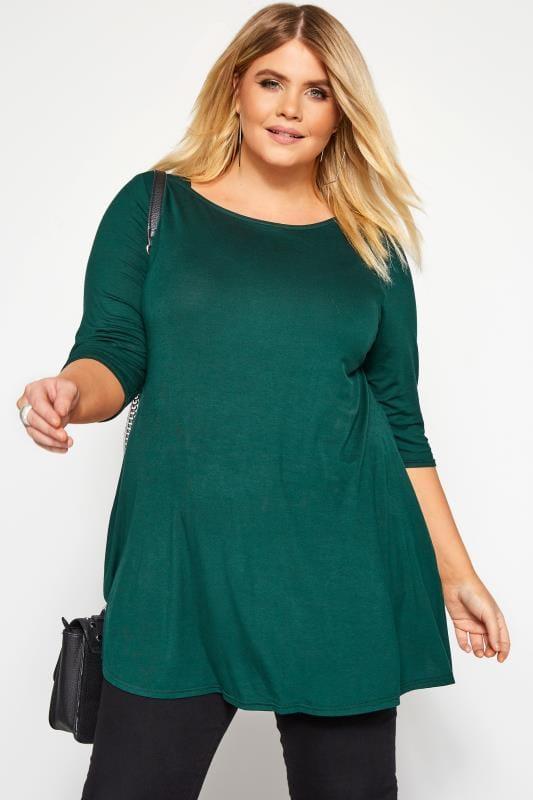 Plus Size Day Tops Bottle Green Jersey Longline Top