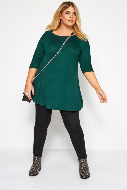 Bottle Green Jersey Longline Top