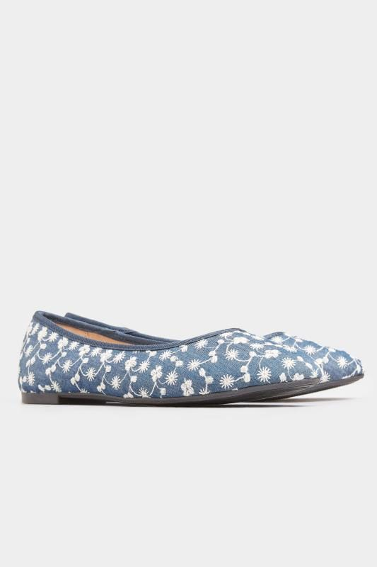 Blue Denim Floral Embroidered Ballerina Pumps In Extra Wide Fit