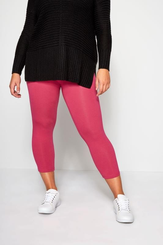 Plus Size Cropped & Short Leggings Bright Pink Cropped Leggings