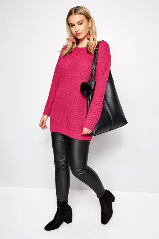 Strickpullover mit modischer Schnürung  - Pink