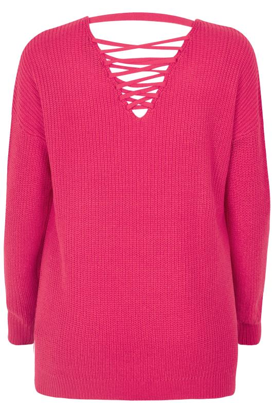 Bright Pink Lattice Back Knitted Jumper