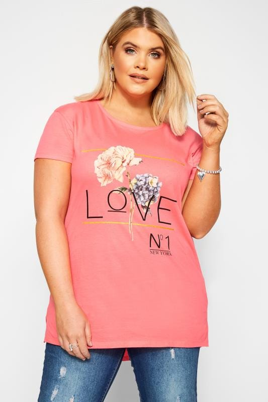 Plus Size Jersey Tops Bright Pink 'Love' Slogan Top