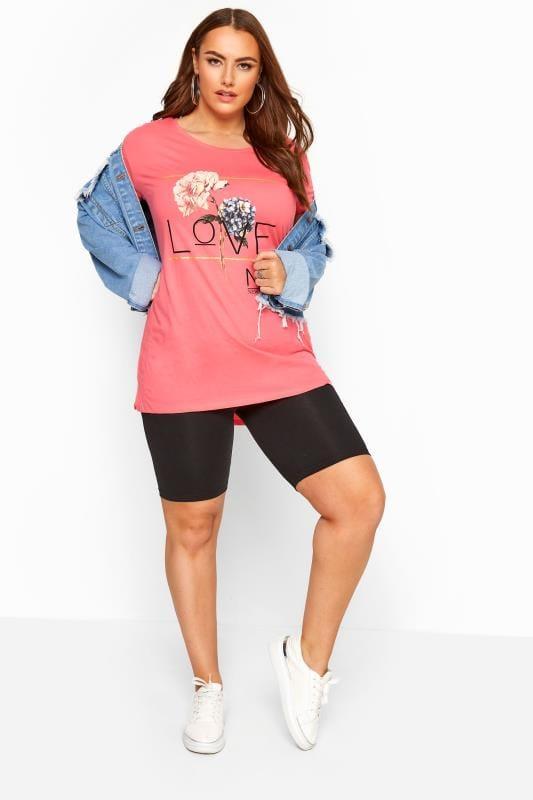 Bright Pink 'Love' Slogan Top