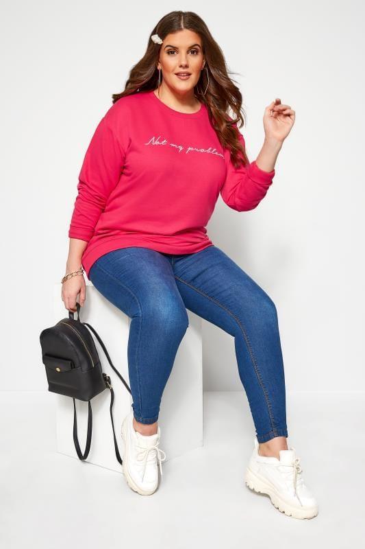 Plus Size Sweatshirts Bright Pink 'Not My Problem' Sweatshirt