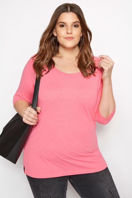 Plus Size Basic T-Shirts & Vests Bright Pink Seamed Scoop Neck Top