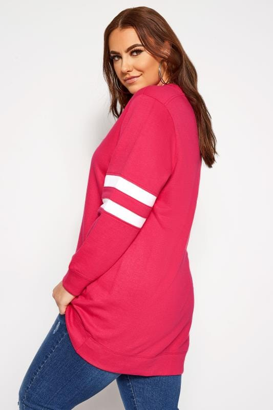 Bright Pink Varsity Stripe Sweatshirt