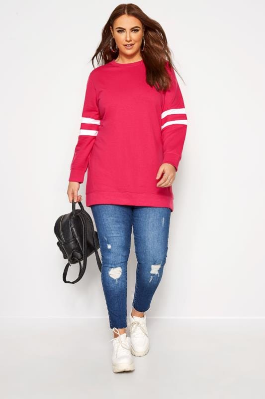Plus Size Sweatshirts Bright Pink Varsity Stripe Sweatshirt