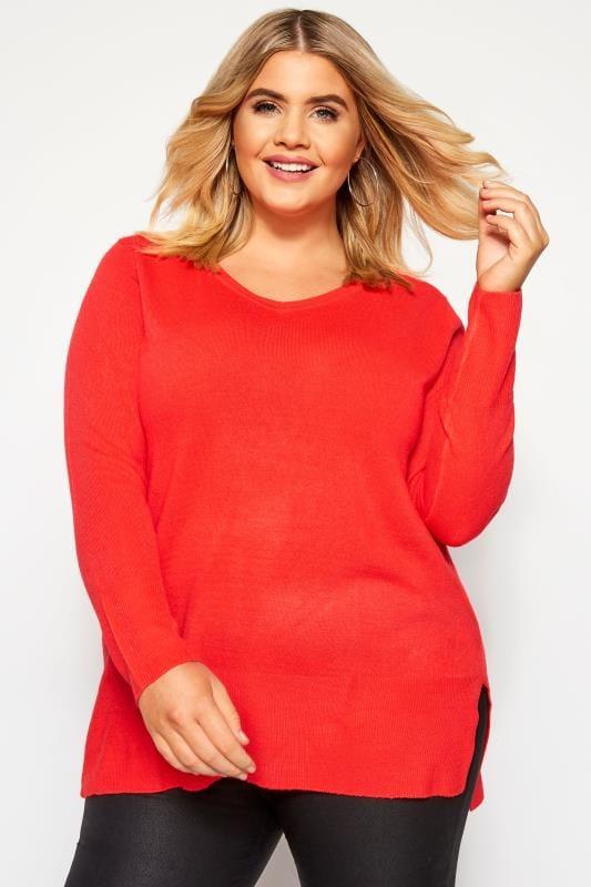 Plus Size Jumpers Bright Red Fine Knit Cashmilon Jumper
