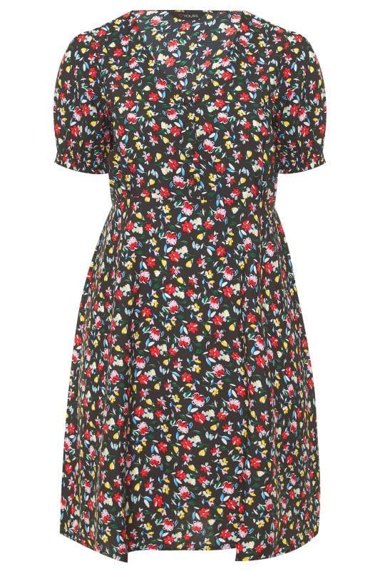 Black Bright Floral Tea Dress