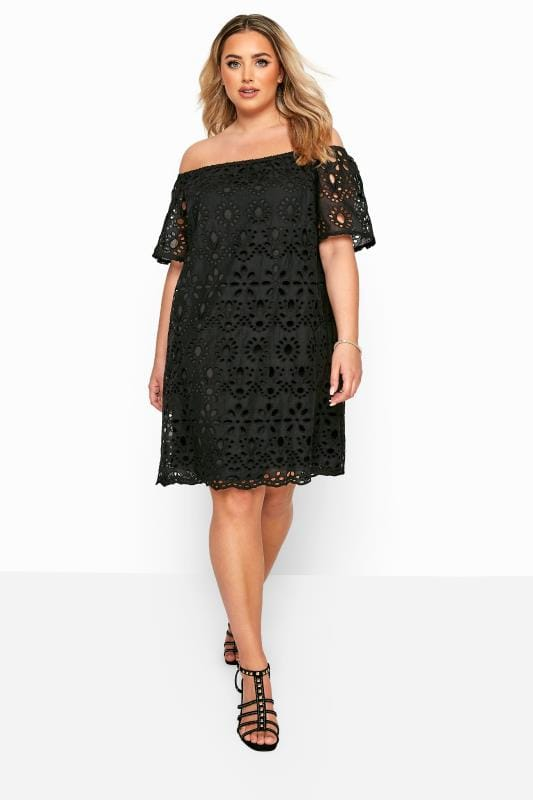 Plus Size Casual Dresses Black Broderie Anglaise Bardot Dress