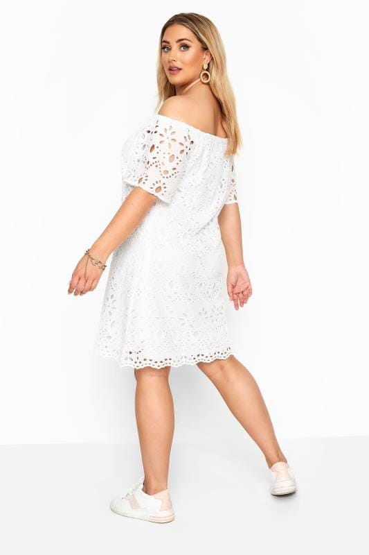 White Broderie Anglaise Bardot Dress