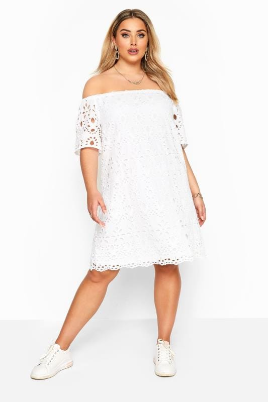 Plus Size Casual Dresses White Broderie Anglaise Bardot Dress