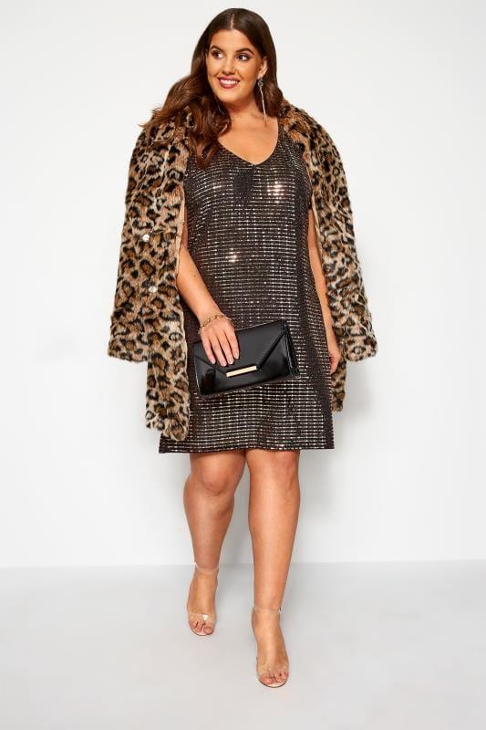 Bronze Sparkle Embellished Shift Dress