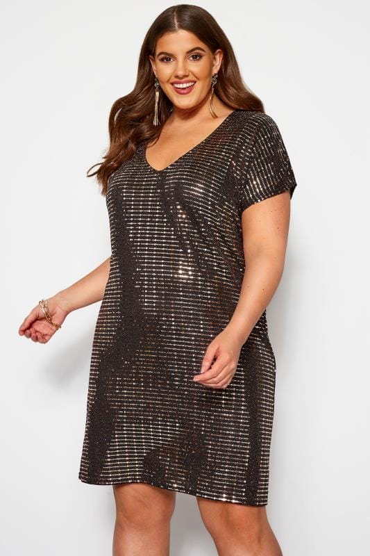 Plus Size Party Dresses Bronze Sparkle Embellished Shift Dress