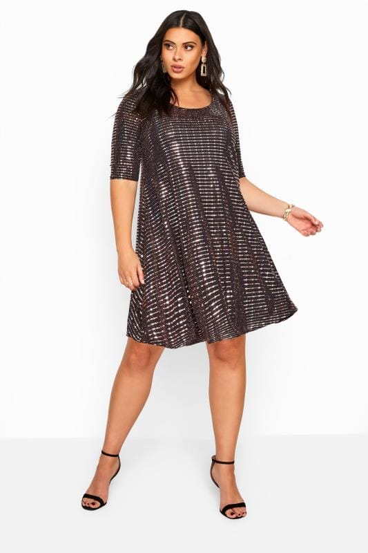 Plus Size Party Dresses Bronze Sparkle Embellished Swing Dress