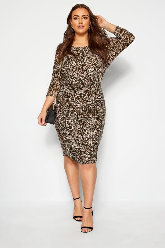 Jersey Dresses Brown Animal Print Bodycon Dress