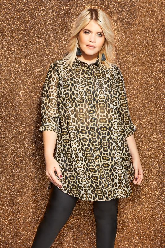 Brown Animal Print Shirt