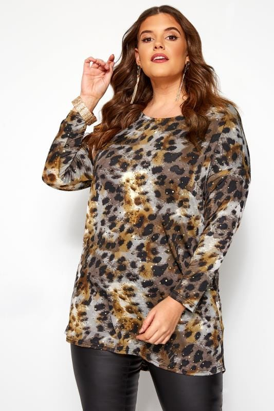Plus Size Dipped Hem Tops Brown Animal Print Sparkle Dipped Hem Top